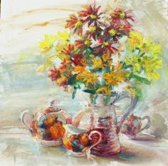 """Flowers in Jug with Tea-set"" oil on canvas 60x60cm"