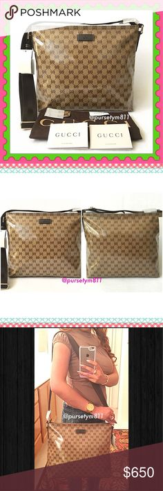 """Authentic Gucci Logo Large Bag 100% AUTHENTIC! Gorgeous and classic large crossbody & shoulder logo bag from Gucci. Length is approximately 14"""" Height is 11.5"""" Width 4.5"""" w/ adjustable strap. Zipper top closure. Yellow gold tone hardware w/ 3 interior pockets. Lightweight & very comfortable, perfect every day bag! Dust bag & cards included. New w/ tag. Timeless & lovely bag, don't miss it! PRICE FIRM. Gucci Bags"""