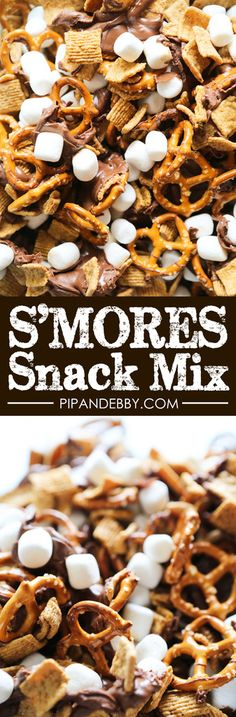 S'mores Snack Mix | Switch up the standard snack mix and give it a s'mores twist! This is EASY to make and it's such a party favorite!