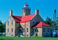 Old Mackinac Point Lighthouse - Straits of Mackinac Great Lakes, Lighthouses, Mansions, House Styles, Mansion Houses, Villas, Fancy Houses, Palaces, Lighthouse