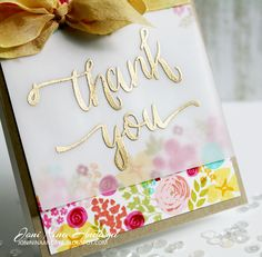 Thank You Card with Vellum and Gold Embossing