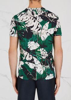 Green leaf-print cotton T-shirt