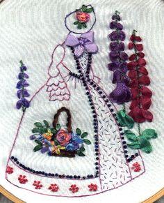 Crinoline lady with silk ribbon embroidery