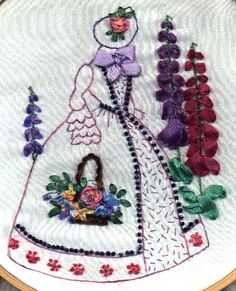 Crinoline lady with silk ribbon embroidery