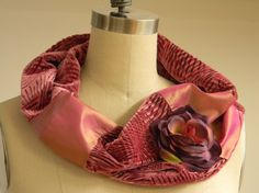 One Of A Kind Infinity Scarf Silk Velvet Silk Dupioni by Olimpias