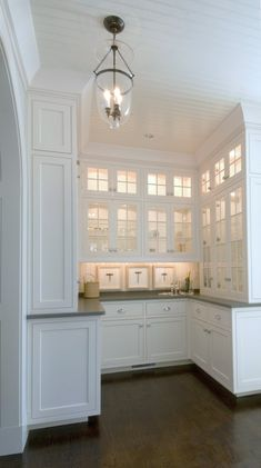 S pantry home kitchen butlers pantry, butler pantry, Kitchen Butlers Pantry, Kitchen Corner, Butler Pantry, New Kitchen, Kitchen Cabinets, White Cabinets, Corner Bar, Corner Pantry, Glass Cabinets