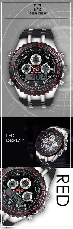 Red Military LED quartz watches - Readeel