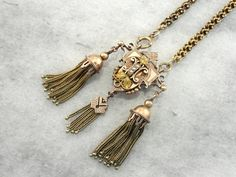 Exquisite, Ornate Victorian Rose Gold with Seed Pearls and Tassels 1LUJ4A-N