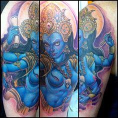 1 session , waiting for better pics. Kali Tattoo, Tattoo Art, Trendy Tattoos, Cool Tattoos, Amazing Tattoos, Tatoos, Kali Goddess, Black Goddess, Indian Head Tattoo
