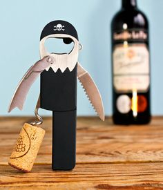 The sommelier's favourite 'Waiter's Friend' corkscrew, pull corks like a professional.This peg-legged pirate corkscrew has an easy-open lever, foil-cutter and a beer bottle opener. Designed to look like a peg-legged pirate with eye-patch, beard, hook hand, earing, black bandana and even a parrot! Forget Blackbeard, 'Legless' is the hardest working pirate in the bar and is sure to raise a smile amongst guests.Stainless steel: highly recyclable. Will not rust or corrode.H13.2 x W4....