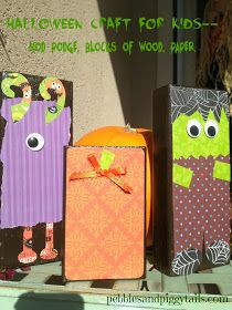 Pebbles and Piggytails: Simple Fall Decorations (using Mod Podge). Easy Halloween craft for kids.