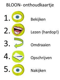 Voor wie de volgorde van BLOON moeilijk kan onthouden! Uitprinten (verkleind) en lamineren! Succes! www.dyadon.nl voor gratis kaartjes, uitleg en variaties!
