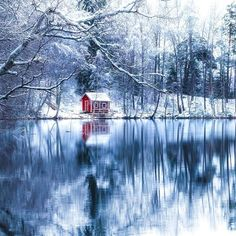 ***Red hut in winter (Finland) by Lauri Lohi on Winter Photography, Landscape Photography, Nature Photography, Travel Photography, All Nature, Amazing Nature, House Nature, Black And White Landscape, Destination Voyage