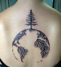 12 Necessary Details That You Ought to Know About Earth Tree Tattoo New Tattoos, Body Art Tattoos, Cool Tattoos, Tatoos, Globus Tattoos, Erde Tattoo, World Tattoo, Nature Tattoos, Symbolic Tattoos