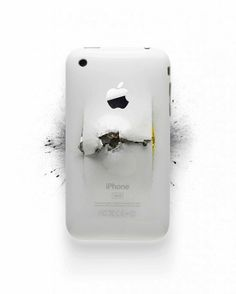 Impressive series of  destroyed Apple Products by Michael Tompert and photographer Paul Fairchild.
