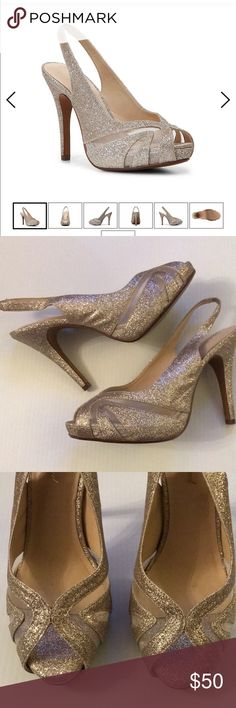 """🌟4-inch Sparkly Heels! -Worn Once-Comes w/ Box!🌟 🌟 Worn only once for a wedding 🌟 Glitter and mesh upper 🌟 Slingback strap with elastic panel for easy on/off 🌟 Round peep toe 🌟 ¾"""" platform, 4"""" covered heel 🌟 Synthetic sole Lulu Townsend Shoes Heels"""