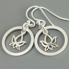 Sterling Silver Lotus Earrings, Lotus Flower Earrings, Dangle Earrings, Drop Earrings, Yoga Zen, Everyday Earrings on Etsy, $29.00