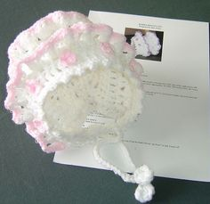 .Crochet baby bonnet with frills front view by fullbodiedwoman, via Flickr