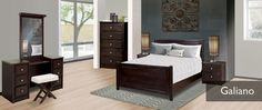 Purba Furniture, Galiano bedroom collection. Canadian made, available in your choice of stain and hardware.  See in store for pricing and all available options.