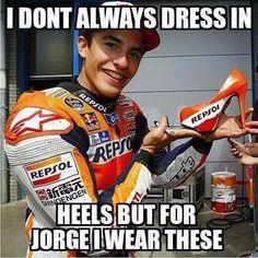 Marc Marquez holding Repsol Heels. Funny