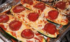 Zucchini Pepperoni Pizza: 2 pizzas make for a delicious snacker under 120 calories. Sub mushrooms or smoked salmon for the pepperoni to get it under 100.