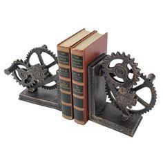 Industrial Gear Sculptural Iron Book Ends