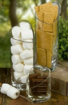 s'mores, anyone? such a good idea! Small fire and smore bar at my rustic country outdoor wedding