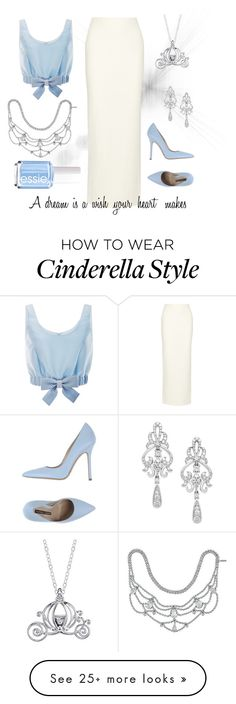 """Cinderella"" by loganmullet on Polyvore featuring Honor, Alice + Olivia, Norma J.Baker, Wrapped In Love, Disney, Jennifer Behr and Essie"