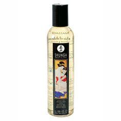 SHUNGA EROTIC MASSAGE OIL LIBIDO es un aceite de masaje  sensual de origen ORIENTAL de alta calidad,  compuesto por una mezcla se aceites esenciales de almendras dulces, semillas de  uva, sésamo, aguacate, esencia pura de Ylang-Ylang y Yohime.  Sensual aroma de FRUTAS EXOTICAS, estimulante de t
