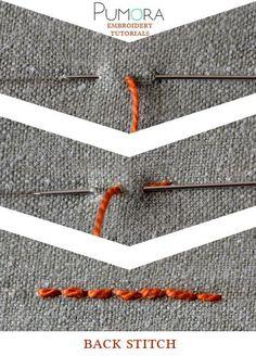 Pumora stich-lexicon: the back stitch point de piqûre, Rückstich, punto atràs/pespunte