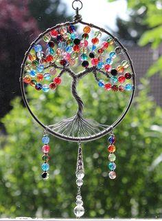"""Arbre de vie suncatcher en perles de verre craquées bicolores et multicolores - Modèle """"Magic tree"""""""