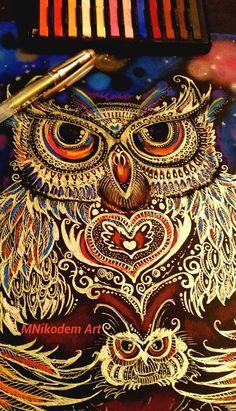 My Owl A/4 Zselés toll, pasztell Nikodém Mónika MNikodem Art