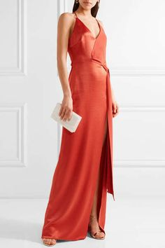 Halston Heritage - Wrap-effect Crepe-paneled Satin Gown - Brick White Satin Dress, White Wrap Dress, Satin Gown, Satin Dresses, Satin Sash, Formal Dresses, Glamour Fashion, Timeless Fashion, Luxury Fashion