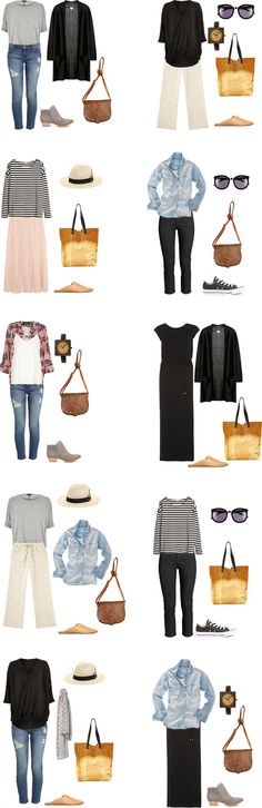 These twenty outfit options (10 above and 10 below) are the ones that go with the What to Pack for New Orleans packing light list.