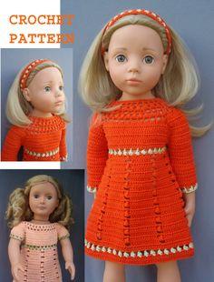 Crochet American Girl 18 inch doll Retro DRESS by KNITnPLAY