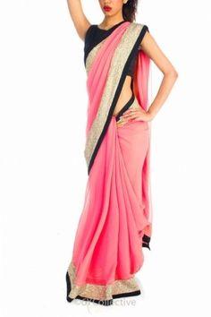 Salmon pink sari with sequins
