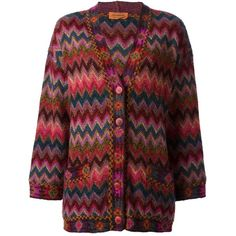 Missoni Vintage Zig Zag Crochet Knitted Cardigan ($328) ❤ liked on Polyvore featuring tops, cardigans, multicolour, long sleeve crochet top, v neck cardigan, red top, long sleeve tops and vintage tops