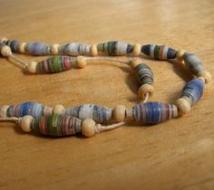 Recycled, Repurposed, Upcycled Paper Bead Necklace With Natural Hemp Cord and Wood Beads, Blue and Green