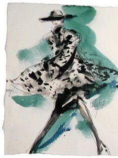 "By Joe Eula, Mondi for ""W"", watercolor. Fashion Prints, Fashion Art, Fashion Beauty, Fashion Design Sketches, Fashion Drawings, Fashion Illustrations, Pretty Drawings, Dress Sketches, Fashion Sketchbook"