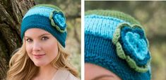 Floral Design Cozy Knitted Hat [FREE Knitting Pattern]
