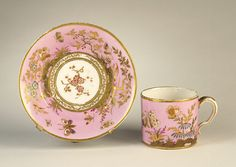 Sevres Coffee Cup and Saucer 1779 Pink Coffee Cups, Pink Cups, Coffee Cups And Saucers, Tea Cup Set, Cup And Saucer Set, Tea Cup Saucer, Tea Art, China Tea Cups, Tea Service
