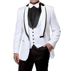White and Black Wedding Men Suits 2018 Peaked Lapel Custom Made Business Suits Three Piece Wedding Groomsmen Tuxedos Jacket Pants Vest Groom Tuxedo, Tuxedo For Men, Formal Suits, Men Formal, All Black Tux, Black Pants, Terno Slim, Groomsmen Tuxedos, Wedding Suits
