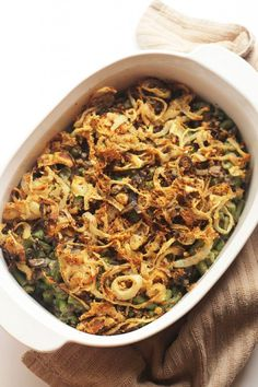 Healthy Green Bean Casserole (Vegan) made this this thanksgiving 2016 and added 1/2 packet of miso powder to crispy onions