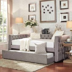 Jennifer Cintani saved to E's big girl roomSIGNAL HILLS Knightsbridge Tufted Nailhead Chesterfield Daybed and Trundle #homeideas #bedrooms #bedroomideas #bedroomdecor