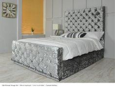 ENIIGMA OTTOMAN GASLIFT CRUSHED VELVET + 54 INCH HEADBOARD (SILVER, DOUBLE): Amazon.co.uk: Kitchen & Home
