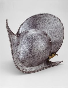 French in the Italian (Brescian) manner, possibly Italian, Brescia    Comb Morion, 1575/1600    Steel, iron, brass, leather- Art Institute of Chicago