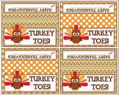 Turkey Toes Bag Topper - Happy Thanksgiving  - Printable Instant Download