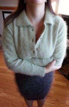 Angora sweater atop a mohair skirt