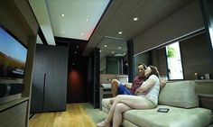 This Micro Apartment Has A Home Theater, Full Kitchen, And Even A Guest Bedroom Hong Tiny Living, Home And Living, Living Room, Small Apartments, Small Spaces, Large Bathtubs, Intelligent Design, Home Technology, Tiny House Design