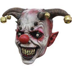 Adult Morris Sinster Mr Mister Creepy Clown Killer Full Head Mask Rainbow Hair